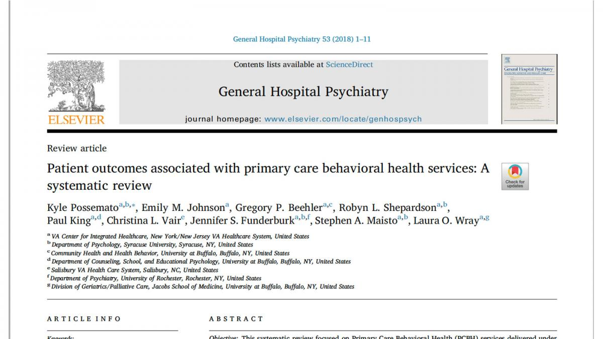 Patient outcomes associated with primary care behavioral health services: A systematic review