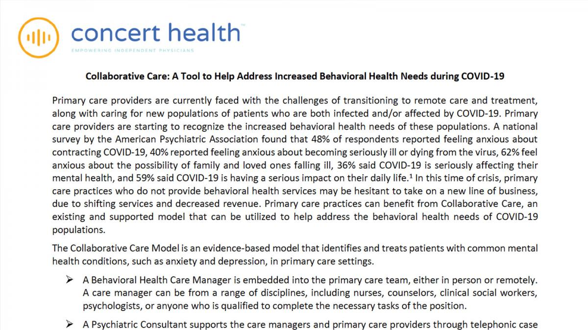 Collaborative Care: A Tool to Help Address Increased Behavioral Health Needs during COVID-19