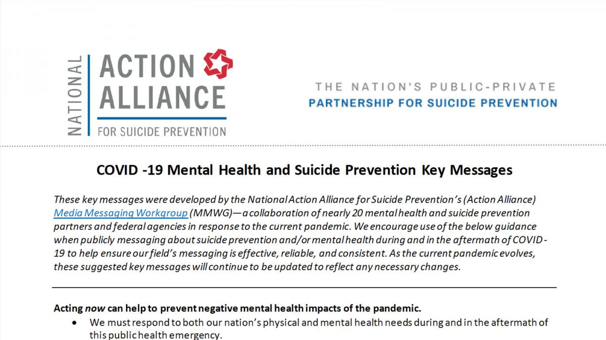 COVID-19 Mental Health and Suicide Prevention Messaging Guidance