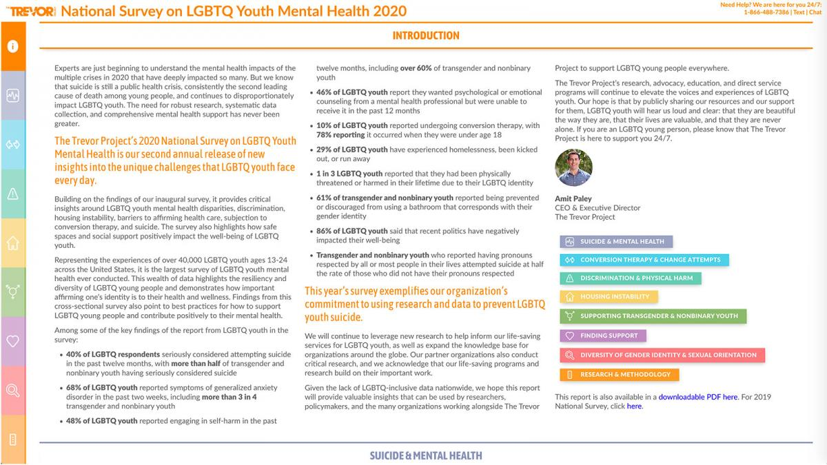The Trevor Project's 2020 National Survey on LGBTQ Youth Mental Health