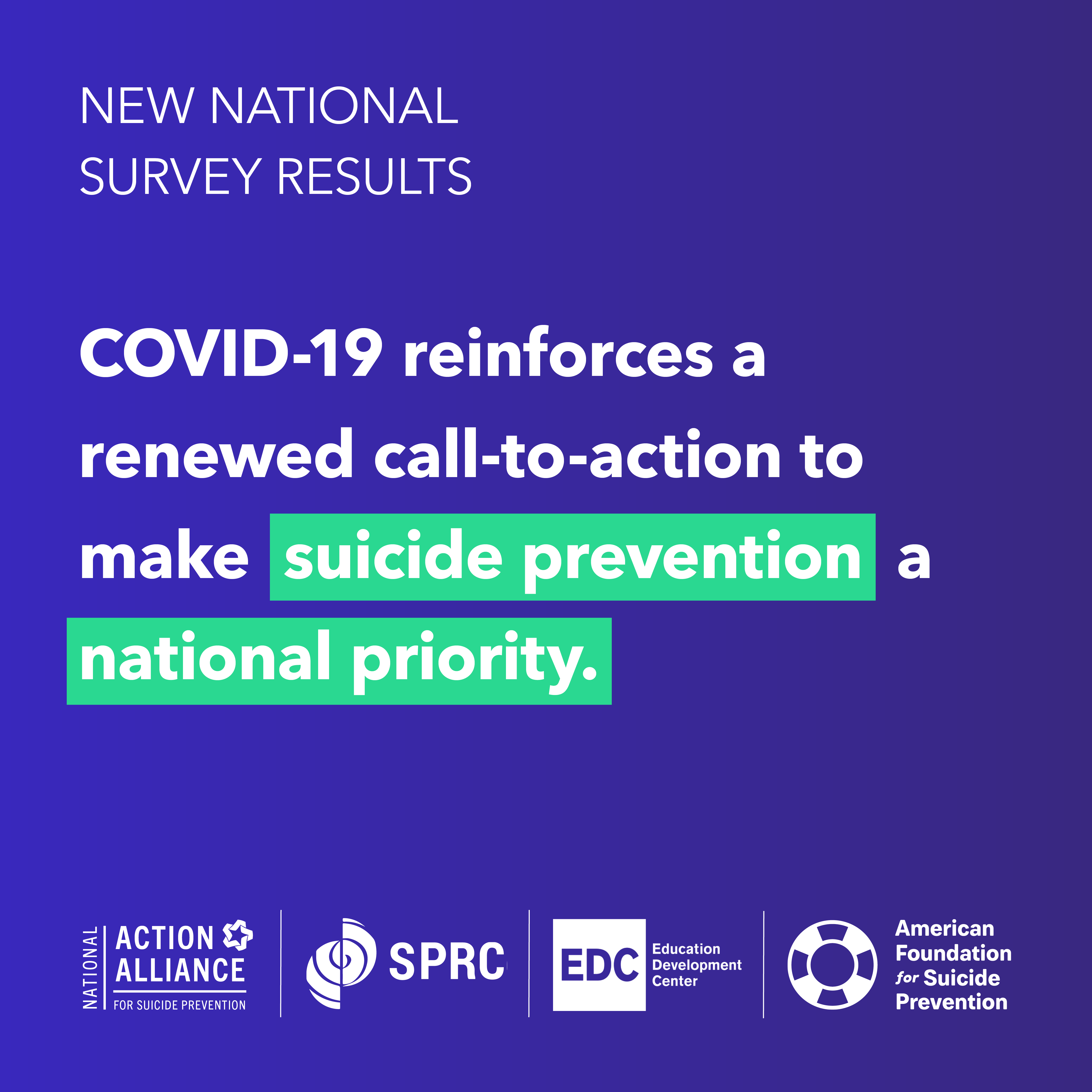 National Public Perception of Mental Health and Suicide Prevention Survey Results